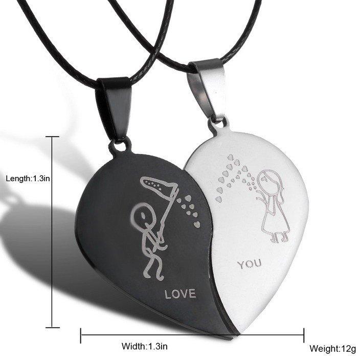 Fashion Broken Heart Pendant Lover Necklace