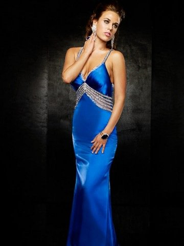 2011 Style Sheath / Column Spaghetti Straps Beading Sleeveless Floor-length Elastic Woven Satin Royal Blue Prom Dress / Evenin