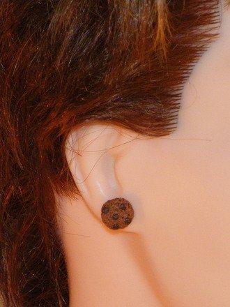 Boucle d'oreille cookie en fimo