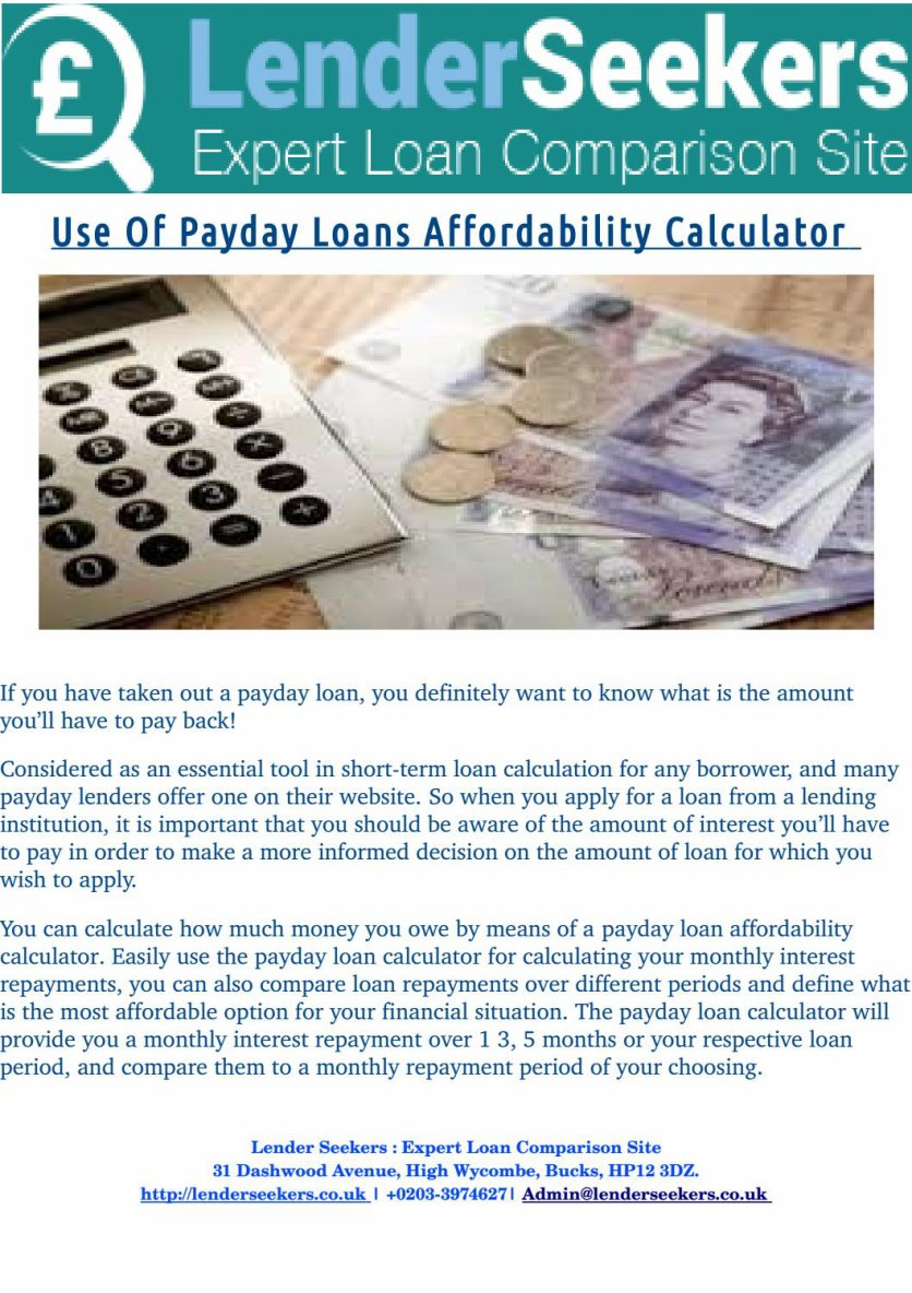 How Payday Loan Affordability Calculator is useful in taking Payday Loans?