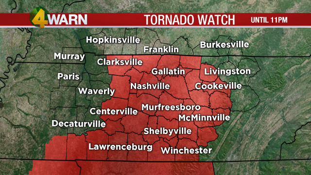 Tornado watch issued for Middle Tennessee