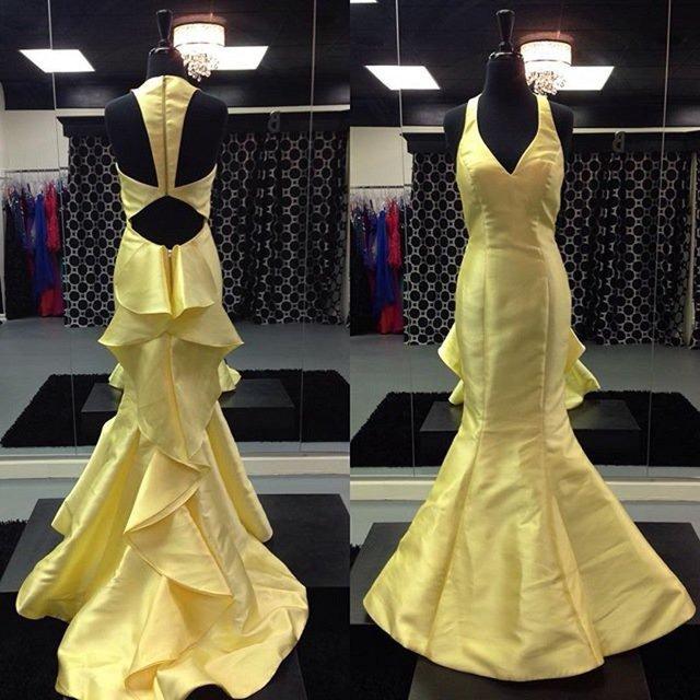 1daf5f3e941 Just  185.00-Cheap Sherri Hill 50195 Yellow V Neck Cutout Back Ruffled  Mermaid Dress-Cheap Dresses Low Price