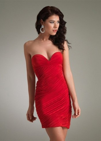2011 Style Sheath / Column Sweetheart Ruffles Sleeveless Short / Mini Chiffon Red Cocktail Dress / Homecoming Dress