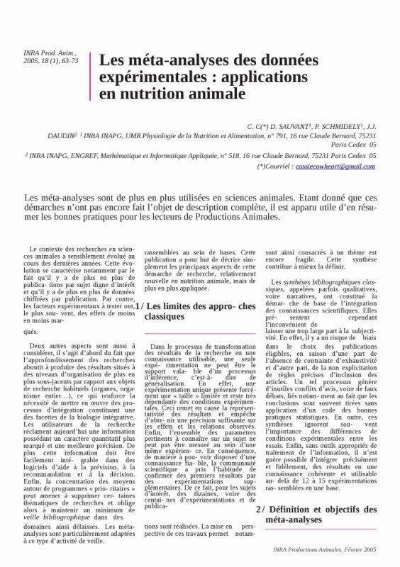 Les méta-analyses des données expérimentales : applications en nutrition animale part 1