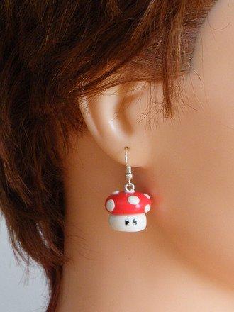 Boucle d'oreille champignons kawaii en fimo Argent 925 : Boucles d'oreille par jl-bijoux-creation