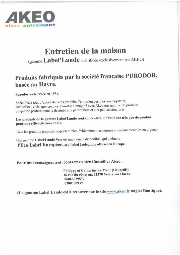 COMMANDE LA BEL'LANDE ENTRETIEN DE LA MAISON - ACTUALITE COMITE D'ENTREPRISE TRANSPORTS GRG