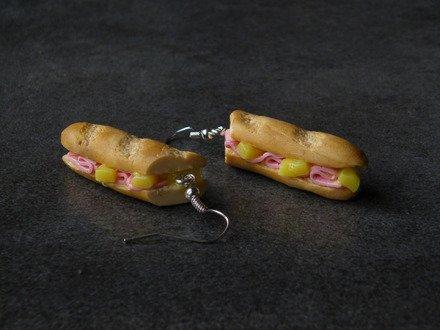 Boucle d'oreille sandwich en fimo Argent 925
