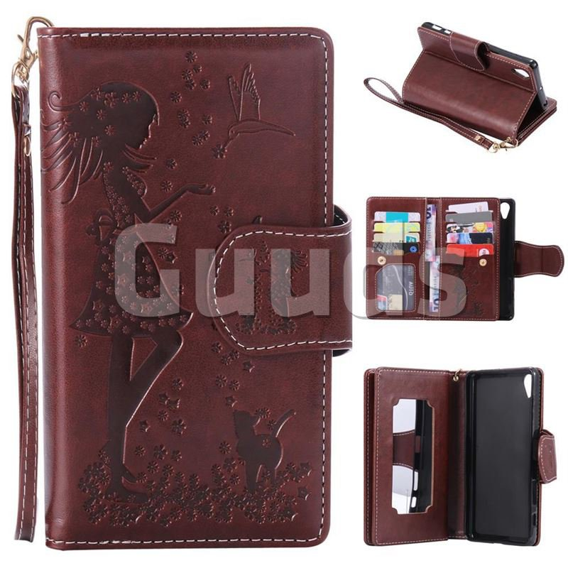Embossing Cat Girl 9 Card Leather Wallet Case for Sony Xperia X Performance - Brown - Leather Case - Guuds