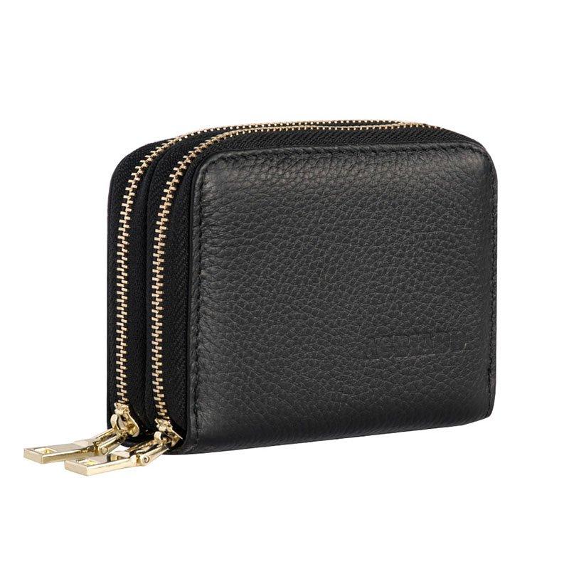 Men Women's Card Holder Genuine Leather Cute Double Zipper Card Wallet