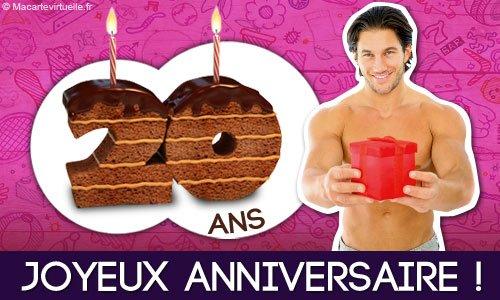 Envoyez une e-card Joyeux anniversaire 20 ans - MaCarteVirtuelle.fr
