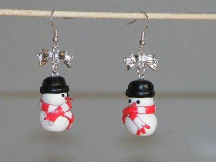 Boucle d'oreille bonhomme de neige en fimo Argent 925 : Boucles d'oreille par jl-bijoux-creation
