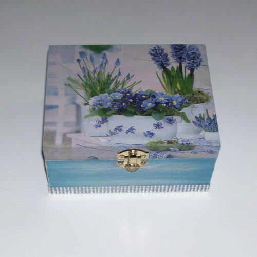 Boîte à bijoux fleur bleu