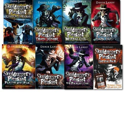 Skulduggery Pleasant Derek Landy 7 Books Set Collection Game Cards