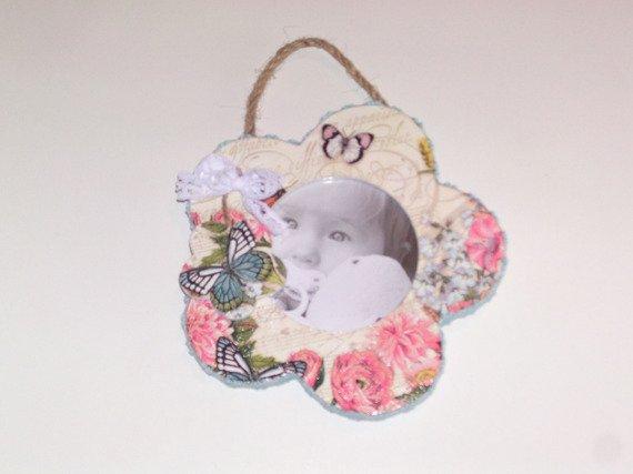 cadre photo fleur en bois blanc papillon romantique femme décoratif déco murale cadeau femme déco romantique : Accessoires de maison par idees-cadeaux-d-ameline