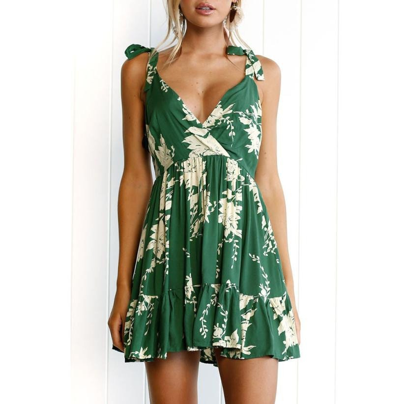 Hot Sale Summer Dress Womens Floral Leaves Print Dresses – Express Delivry