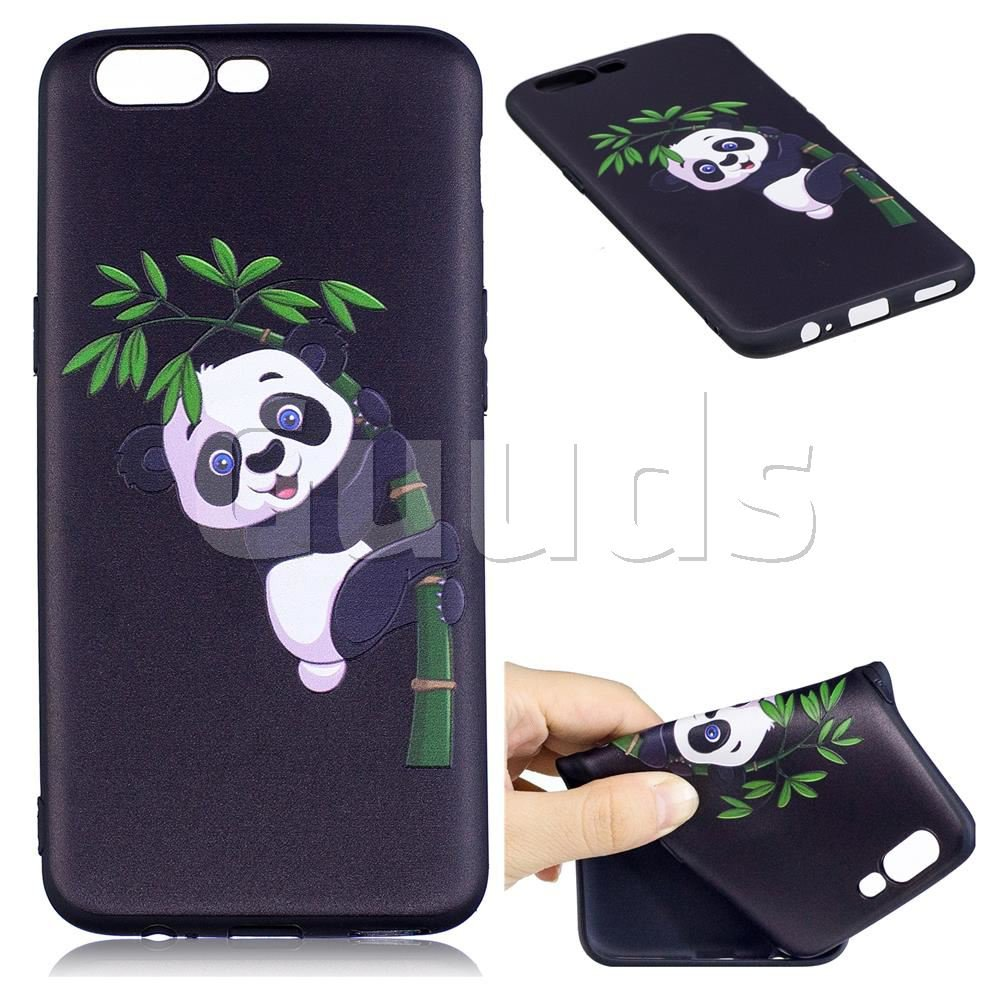 Bamboo Panda 3D Embossed Relief Black Soft Back Cover for OnePlus 5 - TPU Case - Guuds