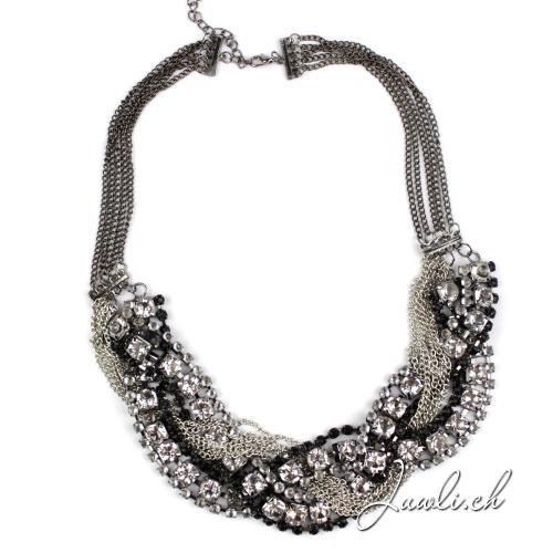 Collier mit Kristallen und Ketten — Modeschmuck günstig online