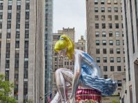 Jeff Koons Inflates 45 Foot High Seated Ballerina in Rockefeller Center New York