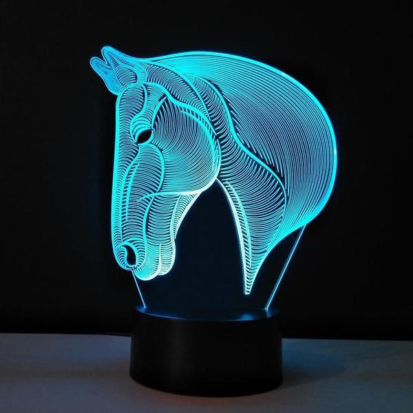 Lampe Cheval LED 3D - Cadeaux Unique
