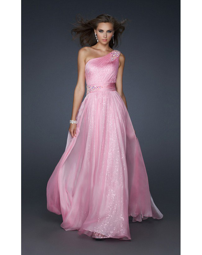 Floor Length One Shoulder Chiffon A Line Beading Sequins Pink Long Prom Dresses