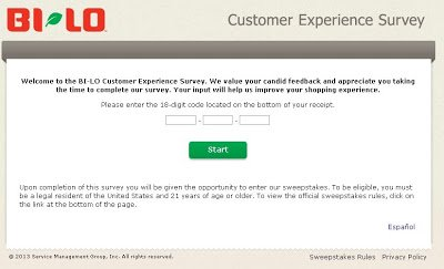 Complete Bi Lo Customer Experience Survey and give your