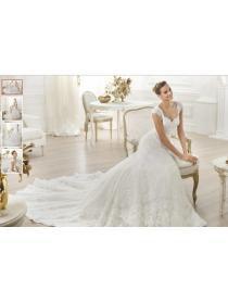 billige brudekjoler|Sleeved V-udskæring broderet brudekjole stof_billige brudekjoler online shop