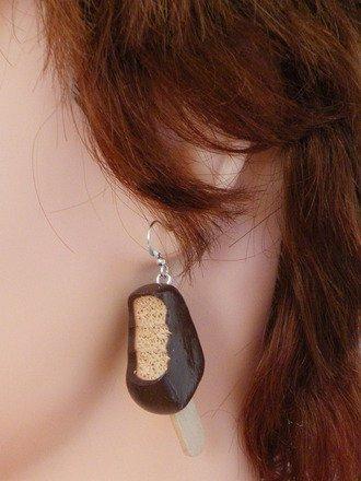 Boucles d'oreilles Glace en fimo Argent 925