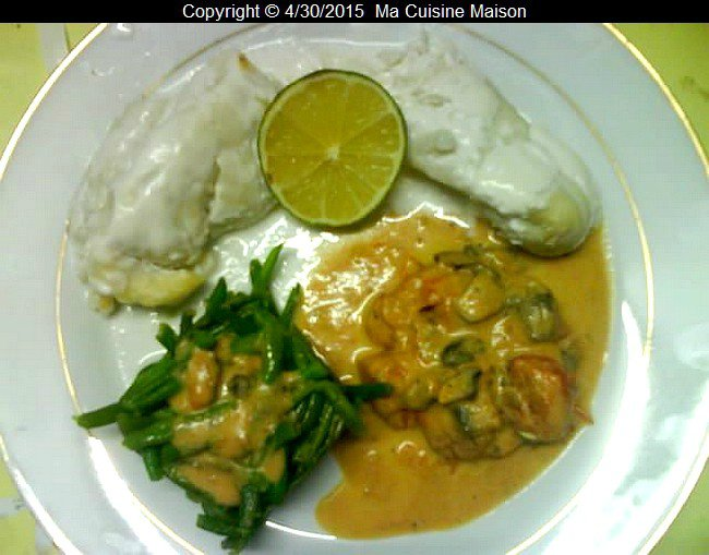 FILET DE FLETAN AU LAIT DE COCO ET CHAMPIGNONS DE PARIS (recette maison) - Ma Cuisine Maison