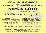 "Annonce ""LOTO BINGO SAMEDI 21/09/13 FOULAYRONNES"""