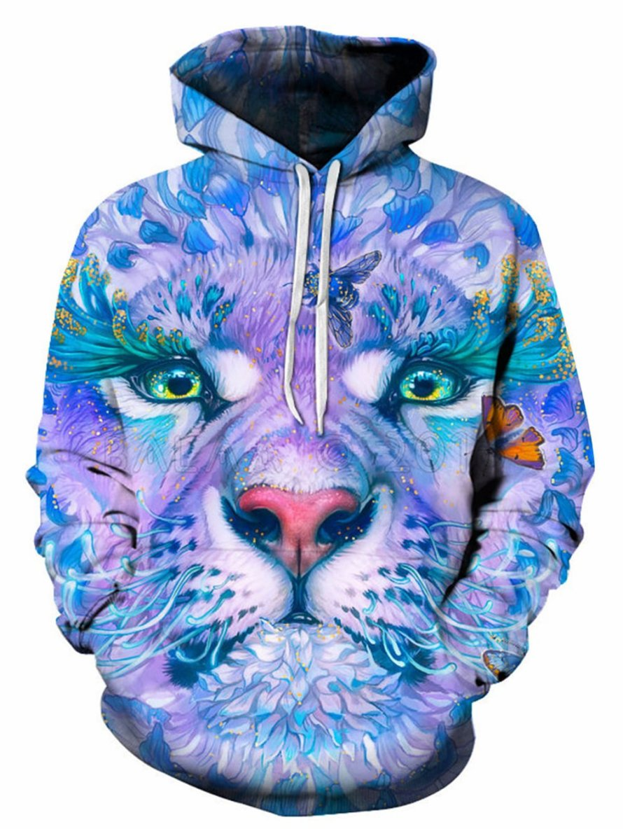 3D Trippy Florals Lion Print Pullover Hoodie