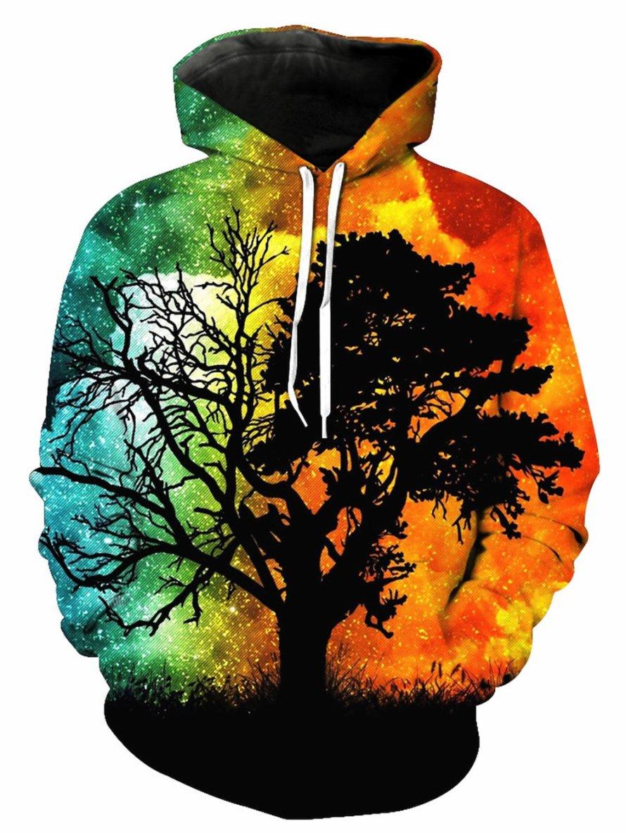 3D Trippy Tree Print Pullover Hoodie