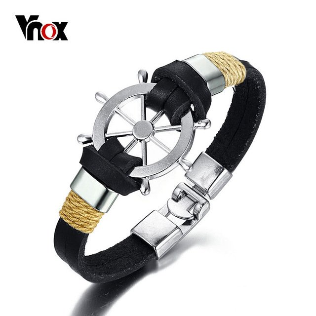 Vnox Rudder Design Men Bracelet Bangle Double Layer Leather Classic Vintage Daily Sport Sailing Jewelry-in Chain & Link Bracelets from Jewelry & Accessories on Aliexpress.com | Alibaba Group