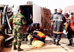 Kaolack : collision entre un bus et camion, 10 morts et une qurantaine de blessés