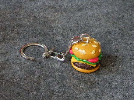 Porte Clés Hamburger style fast-food : Porte clés par jl-bijoux-creation