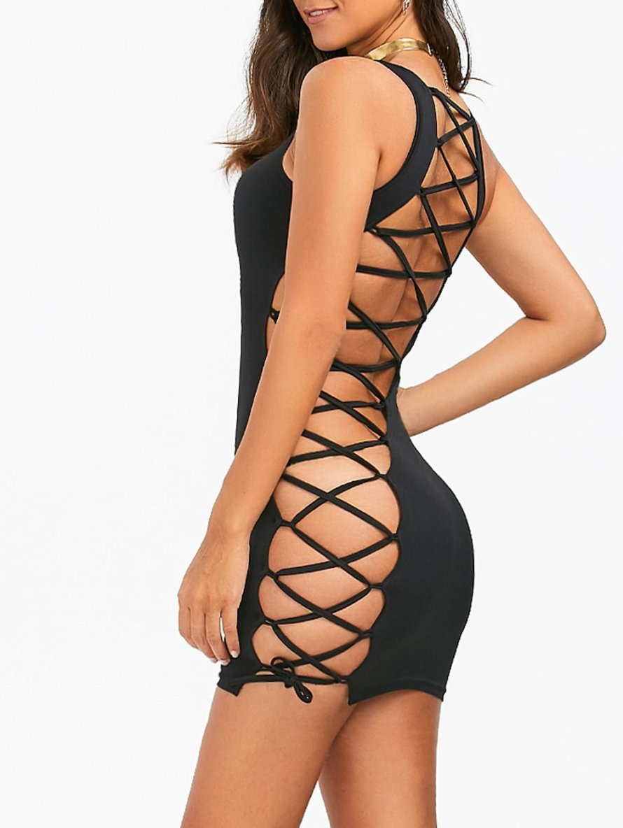Lace-Up Open Back Bodycon Dress