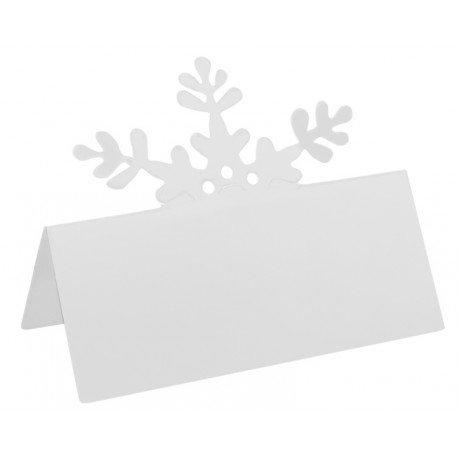 Marque place flocon de neige blanc en carton les 10 - Baiskadreams.com
