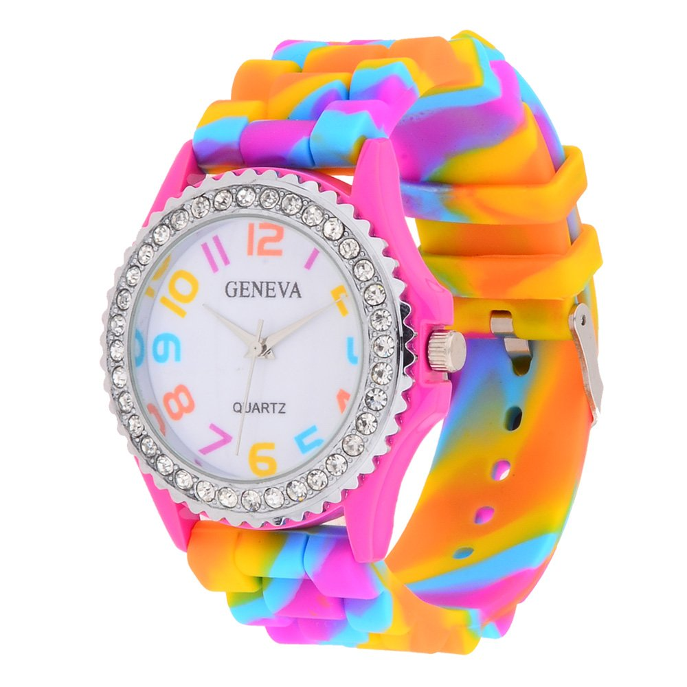 Women's Rainbow Silicone Band Quarts Wristwatch