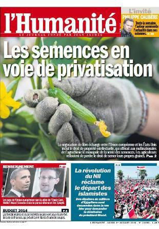 Dans l'Humanité ce lundi, libre-échange et privatisation des semences