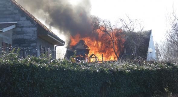 La maison entièrement détruite dans l'incendie. QUEND (80)