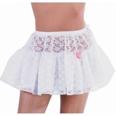 Déguisement jupon court dentelle blanche femme : achat jupon blanc