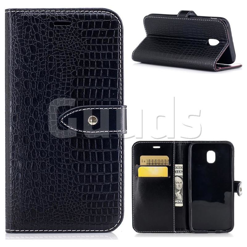 Luxury Retro Crocodile PU Leather Wallet Case for Samsung Galaxy J3 2017 J330 - Black - Leather Case - Guuds