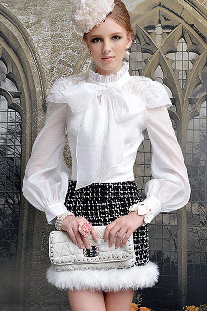 Standing Collar Single Breasted Flouncing Shirt - OASAP.com