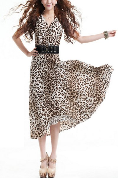 Leopard V-neck Dress - OASAP.com