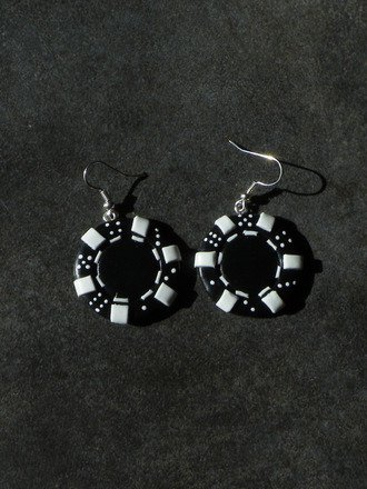 Boucle d'oreille Argent 925 jeton de casino en fimo : Boucles d'oreille par jl-bijoux-creation