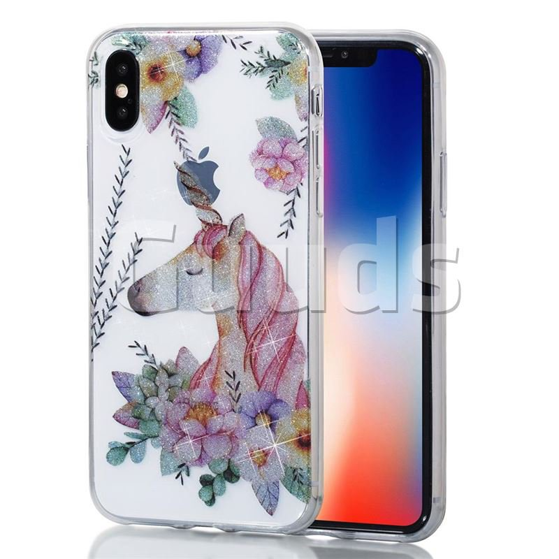 Flower Unicorn Flash Powder Super Clear Soft Back Cover for iPhone X(5.8 inch) - TPU Case - Guuds