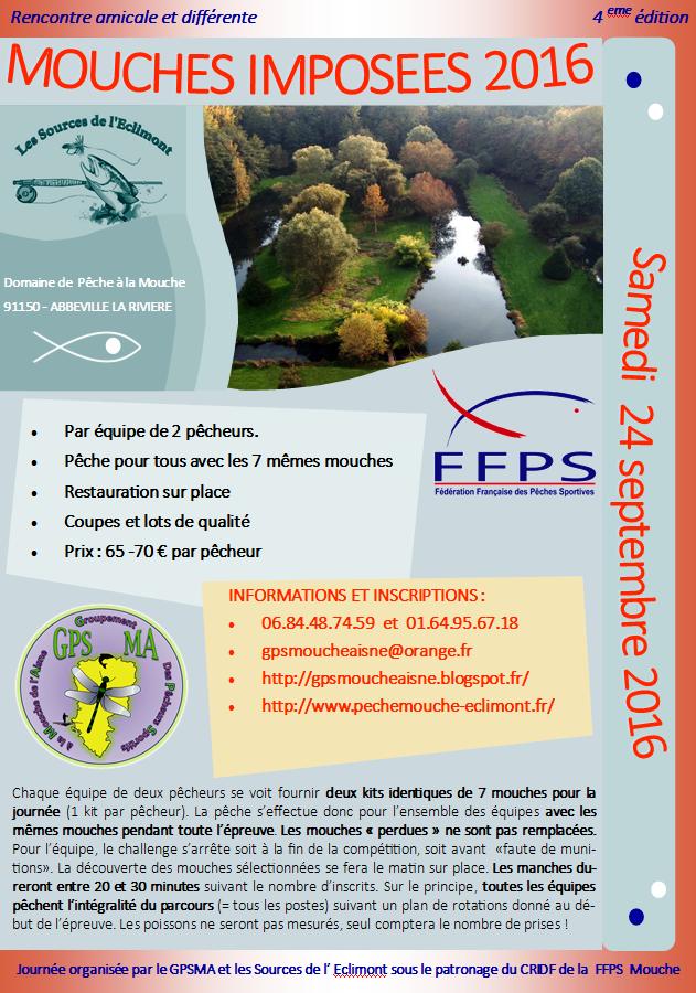 Groupement des Pêcheurs Sportifs à la Mouche de l' Aisne: Mouches Imposées 2016 (4eme édition) - Eclimont et GPSMA