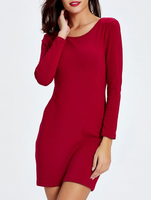 Trendy Long Sleeve Two Side Wear  Zip Up Sheath Dress