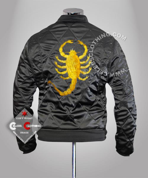 Drive Movie Golden Embroidery Scorpion Black Jacket