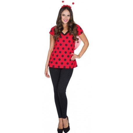 Déguisement T-Shirt coccinelle femme : T-Shirt rouge à pois noirs