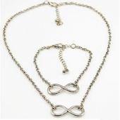 Collier et Bracelet infini, or/argent, femme, ajustable, tendance sur PriceMinister